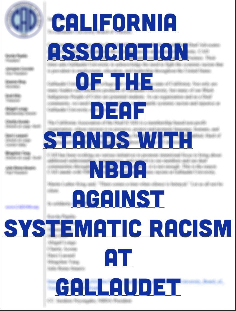 Open Letter: California Association of the Deaf Stands with NBDA