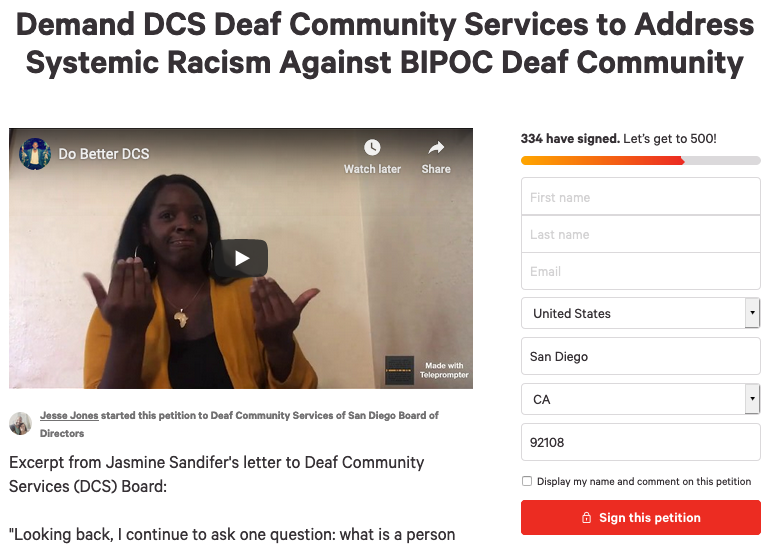 BIPOC Deaf Community Petitions for DCS Action